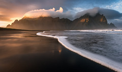 Heavenly (inkasinclair) Tags: vestrahorn sunset waves water sun clouds mountains light landscape iceland hofn coast