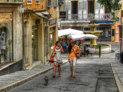 Summer in South France (janepesle) Tags: france travel provence europe nature summer architecture building city cityscape street olympus франция европа прованс пейзаж природа путешествие архитектура cat girls people fountain