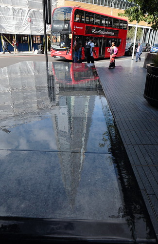 Reflection of The Shard in a water feature at More London on Tooley Street