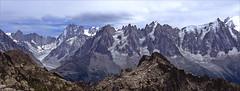 chamonix aiguilles (Ron Layters) Tags: mountains rockspires granite cliffs massifdumontblanc chamonixaiguilles aiguilledugrepon aiguilledeblatiere aiguilledufou aiguilleduplan aiguillesdespellerins aiguilledupeigne aiguilledumidi grandesjorasses panorama alps chamonix france hautesavoie slidefilmthenscanned slide transparency fujichrome provia leica r6 leicar6 ronlayters