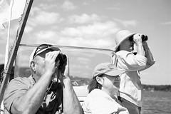 Watching the Regatta (JBAdams) Tags: voigtländer voigtländerbessarf vintagecamera vintagefoldingcamera foldingcamera 6x9 mediumformat 120film film analog manualfocus rangefinder coupledrangefinder skopar 105cm35skopar uncoatedlens blackwhite bw bwfp marine boat portrait sky clouds itsnotacapture people rolleiretro80s mya merriconeagyachtingassociation maine harpswellmaine incidentmetered