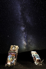 024693763765-105-Milky Way Over the International Car Forest of the Las Church-3 (Jim There's things half in shadow and in light) Tags: 2018 america art milkyway mojavedesert nevada paint september southwest usa carforestofthelastchurch goldfield lightpainting sky star car