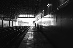 Leaving the station (pascalcolin1) Tags: paris13 austerlitz homme man lumière light ombre shadows reflets reflection gare station photoderue streetview urbanarte noiretblanc blackandwhite photopascalcolin 50mm canon50mm canon