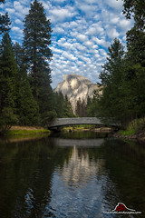 Half Dome and Sentinel Bridge (Darvin Atkeson) Tags: yosemite national park half dome merced sentinel bridge river water reflection clouds pines forest autumn valley nationalpark darv darvin atkeson lynneal yosemitelandscapescom 2018 california unitedstates america