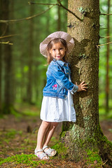 Portrait of Caucasian Little Girl Posing In Front of Big Tree in Green Summer Forest. (DmitryMorgan) Tags: 1 35years activity adorable baby behindtree caucasian cheerful child childhood daughter denim enjoying forest forested fun girl green greenish hide hold jeans joy kid life one outdoors people smiling summer summertime tenderness young