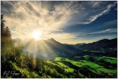 Stodertal (Karl Glinsner) Tags: landschaft landscape österreich austria oberösterreich upperaustria outdoors sonne sun himmel sky wolken clouds gegenlicht backlight backlit berge mountains gebirge stodertal vorderstoder totesgebirge
