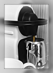 The first, and best, of the day! (Sandi - (Very Busy Lady!)) Tags: sep18 coffee rot cup flow closeup coffeemachine reflection ss
