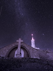 Four Churches (R88b) (Darblanc ( http://darblanc.com )) Tags: canoneos7d mountains summer mergedimages monochrome stackedimages bluehour night clear milkyway church france frenchalps provence vaucluse montventoux longexposure