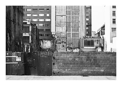 161105_00020_OM2n_city fragment 13/19 (A Is To B As B Is To C) Tags: aistobasbistoc b belgië belgium antwerpen antwerp diamantwijk pelikaanstraat olympus om2n analog film kodak tmax bw blackwhite blackandwhite monochrome wall urban urbanism urbanrenewal city cityscape windows empty lot fence gate tag tags fragment