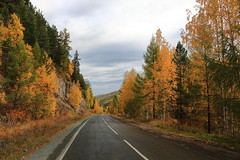 Autumn in Sayan Mountains, Khakassia, Russia (Fedor Odegov) Tags: autumn sayan mountains road khakassia siberia russia