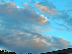 Clouds In The Evening Sky. (dccradio) Tags: lumberton nc northcarolina robesoncounty outdoor outdoors outside nature natural godshandiwork godscreation tree trees foliage summer summertime august thursday evening dusk sky cloud clouds bluesky cloudformation canon powershot elph 520hs