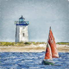 Long Point and Another Sailboat (CapeCawder) Tags: photoart capecod provincetown topazsimplify4 sailing digitalphotoart lighthouse longpointlighthouse topazimpression2 photoshopcc ononeperfecteffects sailboat capecawder