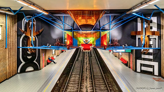 Brussels, Belgium: Bizet metro station (Line 5); Artist Tone Brulin's sculpture represents a theater; The whole world is a stage and everybody plays a part.