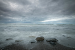 Scattered (jillyspoon) Tags: longexposure leefilters leelittlestopper lee littlestopper water ocean scotland southwestscotland dumfriesandgalloway beach coast sand wetsand tide retreating canon canon70d sigma1020mm sky cloudy dullday horizon monreith wigtownshire seascape