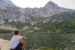 Thinking Hard at Silver Lake (aaronrhawkins) Tags: silverlake utah americanfork hike climb lake mountain tired rest think contemplate water edge joshua boy aaronhawkins