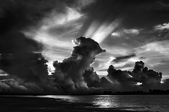 clouds play .. (tchakladerphotography) Tags: damodar pallaroad sunset evening clouds drama sky water atmosphere dark contrast blackwhite bw naturallight