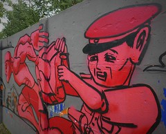 Run (roomman) Tags: 2018 lodz poland pabianice industry culture history past story lost place lostplace industrial town city cities towns textile factory street art style paint painting park wall hip hop hio man guy red police run running away