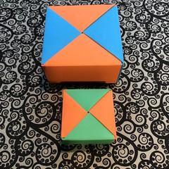 ORIGAMI BOXES (6) (JOHN MORGANs OLD PHOTOS.) Tags: made by john morgan 160 gsm card for my ribbon brooches origami boxes box