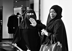 HIgh 5... (WorcesterBarry) Tags: blackwhite bnw street streetphotography streetphoto places people photographers portrait gear funny damage candid city england humour kindness love outdoors ~monochrome~ monochrome anger muslim muslimwomen