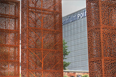Millennium Point museum, Birmingham, with rectanguloid red metal trees (alanhitchcock49) Tags: east side park hs2 railway station architecture birmingham millennium point museum red metal trees technology