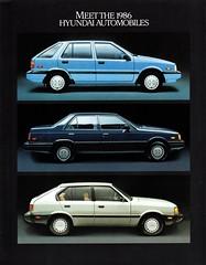 1986 Hyundai Automobiles (aldenjewell) Tags: 1986 hyundai excel stellar canadian brochure pony