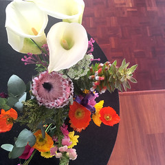 A birthday bouquet (rjmiller1807) Tags: bouquet flowers birthday lily arumlily protea orange pink white arrangement floralarrangement 2018 iphone iphonese iphonography