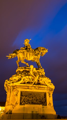 Illuminated Statue of Prince Eugene of Savoy (HansPermana) Tags: budapest hungary magyar ungarn eu europe europa centraleurope bluehour longexposure architecture city cityscape citycenter spring march 2018 statue denkmal budacastle lights