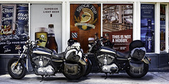 024693763800-105-On the Road With Harley Davidson-1 (Jim There's things half in shadow and in light) Tags: 2018 america mojavedesert nevada september southwest usa motercycle harleydavidson indiansprings transportation signs beer advertising gasstation travel i95
