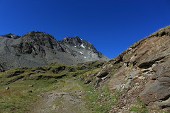en montant au lac du Grand Désert (bulbocode909) Tags: valais suisse nendaz montagnes nature paysages chemins vert bleu névés neige