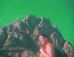 """""""How the hell should I know you just haven't found him yet!"""" (H o l l y.) Tags: kodak trimlite 110mm film analog tomography red rock canyon hiking girl woman mountain green sky weird orbs grain retro indie vintage"""