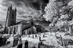 The tower and the tree (David Feuerhelm) Tags: bw blackandwhite monochrome noiretblanc blancoynegro schwarzundweiss contrast ir infrared wideangle perspective church historic old nikon d90 sigma1020mm