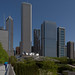 Chicago Skyline beyond Millenium Park from the Nichols Bridgeway.