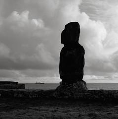 Moai, Hanga Kio'e, Easter Island (austin granger) Tags: moai hangakioe easterisland rapanui ahuakapu stature stone clouds darkness solitary evidence archaeology boat film square gf670