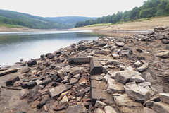 Remains of St John's church, Derwent ,  Ladybower     August 2018 (dave_attrill) Tags: derwent village church ladybower reservoir lowwater brickwork stonework ruins remains siteseptember 2018 bamford peakdistrict nationalpark derbyshire sky landscape