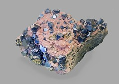 Galena on Rhodochrosite (Ron Wolf) Tags: earthscience galena geology leadville rhodochrosite crystal hexagonal isometric mineral mineralogy nature ore colorado