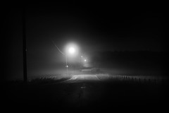 Foggy night (Vlash) Tags: canon760d night landscape calm sigma fjellstrand bw sigma1835f18dchsmart canon blackwhite september roadlights lights shadows shadow autumn road foggy norway lonesome alone akershus lonely fog nesodden sigmaart mist field