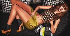 ♚ 617 ♚ (Luxury Dolls) Tags: yellow dark black cat animals pets blackbantam head catwa maitreya shot shoes shape show skirt hair truth free gift groupgift insomnia insomniastore deaddollz new versov event kustom9 feed fashion pose girl