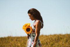 Untitled (bethanierobyn) Tags: girl sunflower model summer yellow floral flower dress portrait 85mm canon