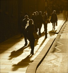 Backlit People (Edinburgh Photography) Tags: people walking backlit documentary photojournalism monochrome sepia high street nikon d7000