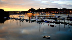 Twilight Colours, Conwy (Peter.S.Roberts) Tags: interesting conwyharbour northwales conwy town twilightcoloursconwy twilight sunset dusk water river riverconwy afonconwy estuary inlet harbour harbor boats boating masts seascape boat pleasurecraft yachts buoys moorings pontoon boardwalk evening outdoor longexposure sun settingsun summer lowlight landscape buildings houses dwellings deganwy conwysunset sky clouds colours mountains trees reflections shadows lighting skyline flickr petersroberts nikond7000 reflectionsonwater myhome cymru cymruambyth hiraeth best