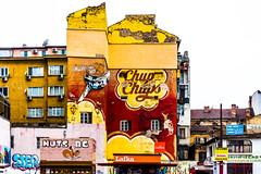 Old Chupa Chups advertisement (fede_gen88) Tags: sofia bulgaria building со́фия българия chupachups advertisement candy sweet yellow red mural logo lollipop salvadordalí dalí decay old urbandecay