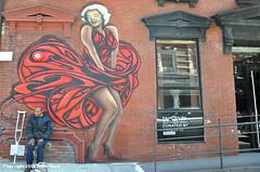 Marilyn And Friend (Trish Mayo) Tags: marilynmonroe red reddress mural art zimernyc lowereastside paintedwalls