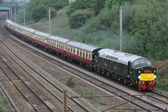 1Z41 Saphos Tours Carlisle to Crewe 'Cumbrian Mountain Whistler' return leg races south on the WCML approaching Farrington Curve Junction on the up fast just south of Preston on 27th August 2018 hauled by English Electric Type 4 No. D213 'Andania' (steamdriver12) Tags: 1z41 saphos tours carlisle crewe cumbrian mountain whistler return leg races south wcml west coast main line farrington curve junction up fast preston 27th august 2018 english electric type 4 no d213 andania diesel heritage