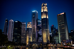 Surreal (Thanathip Moolvong) Tags: singapore uob cbd boatquay river sky skyline twilight dusk evening skyscaper light shade shadow reflection bank office restaurant eat walk