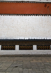 Tashichho Dzong Red Wall (William J H Leonard) Tags: thimphu bhutan bhutanese southasia southasian summer sunny travel travelphotography travelling tashichhodzong buddhist buddhism buddhisttemple architecture asianarchitecture wall building