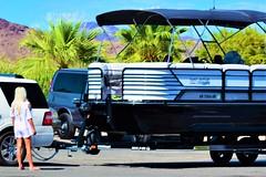 River boat (thomasgorman1) Tags: boat boating river az arizona desert hot recreation tourism travel outdoors colorado marina truck woman candid trees mountains nikon palmtrees
