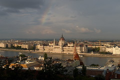 View on Pest, Parliament of Hungary with rainbow. (rustamsad) Tags: leica lumix lx5 lumixlx5 budapest