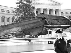 Remnant of World Trade Center Tower (Colorado Sands) Tags: denver colorado sandraleidholdt guard civiccenter relic display piece steel 10thanniversary civiccenterpark people man remembrance remnant terroristattack uniform wtc officer reminder tribute 911 september11 2011