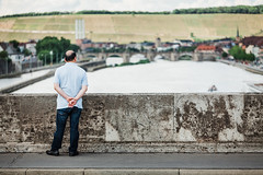 The Realm of Illusions (Thomas Listl) Tags: thomaslistl color würzburg main river waterscape people human solitude hills bridge löwnbrücke summer water ngc