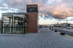 THE REFURBISHED KENT RAILWAY STATION AND NEARBY [PHOTOGRAPHED AT SUNSET IN SEPTEMBER 2018]-144417 (infomatique) Tags: thomaskent trainstation memorial glanmireroadstation hogansquay transport publictransport busservice bikehire williammurphy sunset sony a7riii streetphotograpgy irishrail cie